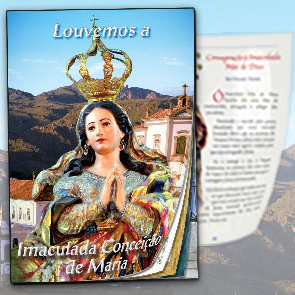 Livro e a estampa da Imaculada Conceição de Maria